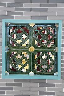 绿釉窗户花纹砖雕
