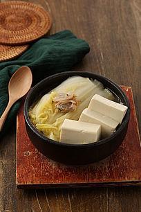 白菜豆腐石锅汤