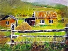 电脑抽象画《乡村农家院》