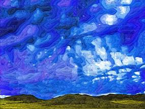 电脑抽象画《原野之云》