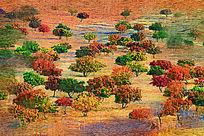 电脑油画《红枫林》