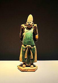 明代陶黄绿釉男俑