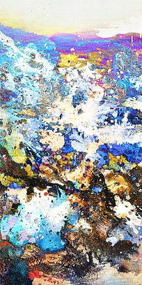 玄关抽象油画背景墙壁画