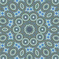圆形 四方连续花纹 印花