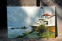 江边风景油画