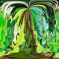 炫丽的绿色数码印花