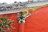 墙柱狮子彩雕