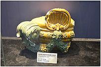 清中期黄绿釉贝壳纹欧式残件