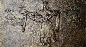 蒙古族少女浮雕