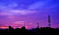 紫色的晚霞自然风景图片