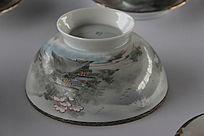 日本樱花富士山薄胎咖啡碗