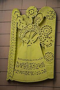 中国风京剧人物形象浮雕