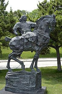 雕塑蒙古骑士