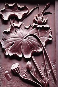红木荷花雕
