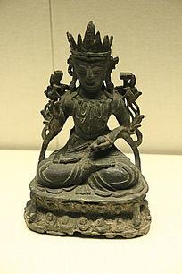 清朝泥金坐式文殊菩萨像