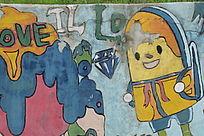 大学生创意十足的墙体涂鸦画