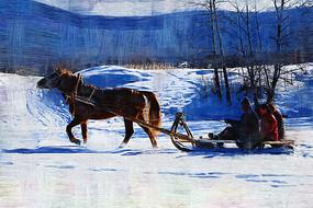 电脑油画《乘坐马爬犁》