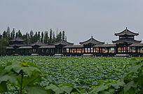 荷塘古建筑风景图片