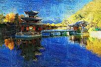 电脑油画《园林湖泊》