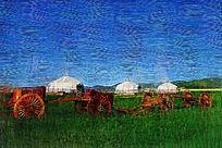 电脑油画《牧场风景》