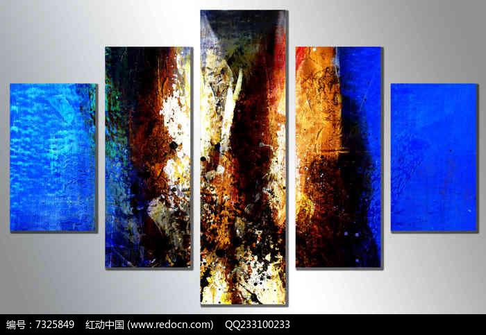 拼套组合五联抽象无框画图片