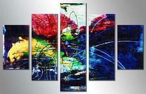 五联抽象油画组合拼套画