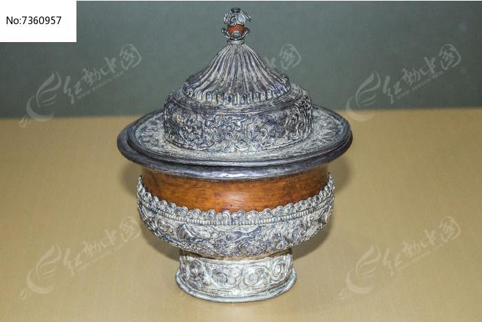 藏族银包木碗图片