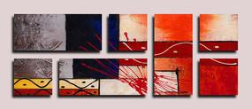 抽象油画艺术墙