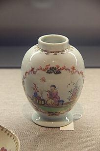 清代广彩迈森风格人物图茶叶罐