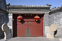 北京胡同石鼓红门