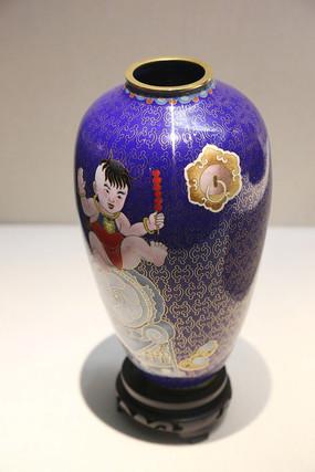 景泰蓝婴儿图小口瓶
