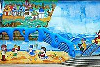 儿童海滩嬉戏墙画