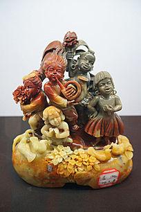 黄彩石雕人物喜庆雕件