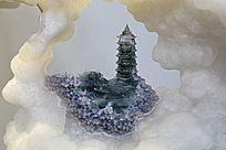 白玉雕缥缈仙境佛塔