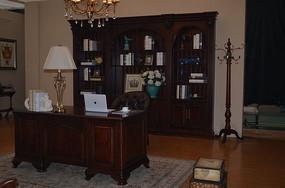 三空书柜书台