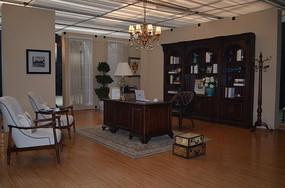 休闲椅三空书柜书台