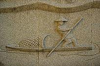 大理石渔夫小船雕刻图案