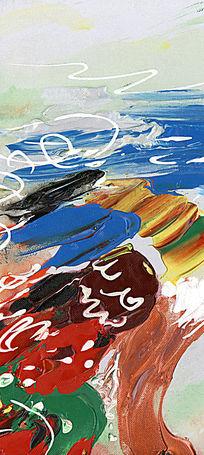 国外抽象油画 油画背景墙 油画壁画