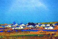 电脑画《美丽乡村》