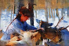 电脑画《女人与驯鹿》