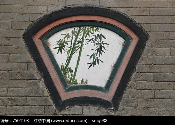 花竹子图扇形石窗图片