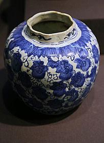明代青花花纹瓷罐