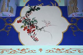 古建彩绘白鸟红花