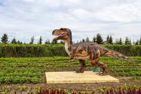 大嘴奔跑恐龙雕塑