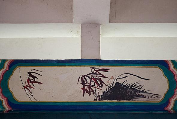 秋天的竹与兰彩绘
