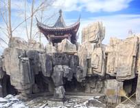 中国传统建筑假山凉亭残雪