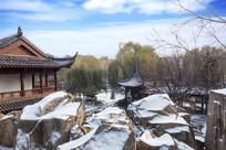 中国传统建筑雪景园林