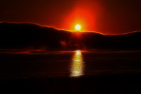 电脑画《日出之湖》