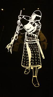 古代战场拿军旗的人