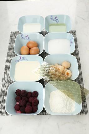 琥珀荔枝杨梅慕斯蛋糕食材